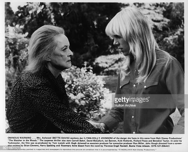 LynnHolly Johnson is cautioned by Bette Davis in a scene for the Walt Disney movie The Watcher in the Woods circa 1979