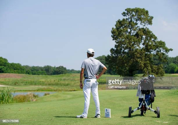 Lynn's Manuel Torres waits at the No 9 tee box during the Division II Men's Team Match Play Golf Championship held at the Robert Trent Jones Golf...