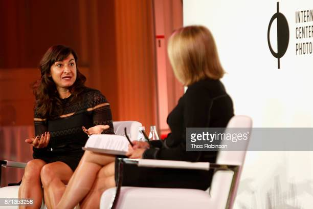 Lynsey Addario and Katie Couric speak on stage at The 2017 ICP spotlights luncheon honoring Pulitzer PrizeWinning photojournalist Lynsey Addario on...
