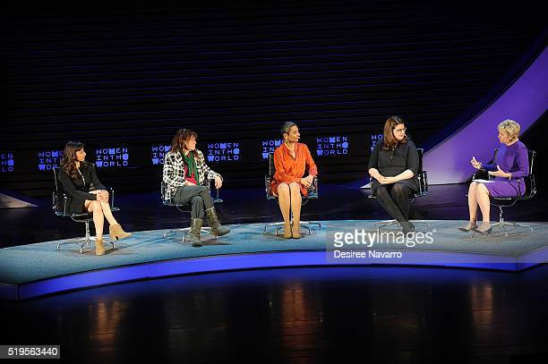 Lynsey Addario Liz Clegg Zainab Salbi Becca Heller and Tina Brown speak onstage during the 7th Annual Women In The World Summit Opening Night at...