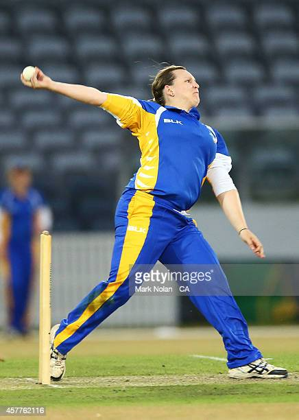 Lynsey Askew of the ACT bowls during the women's T20 match between the ACT and Victoria at Manuka Oval on October 24 2014 in Canberra Australia