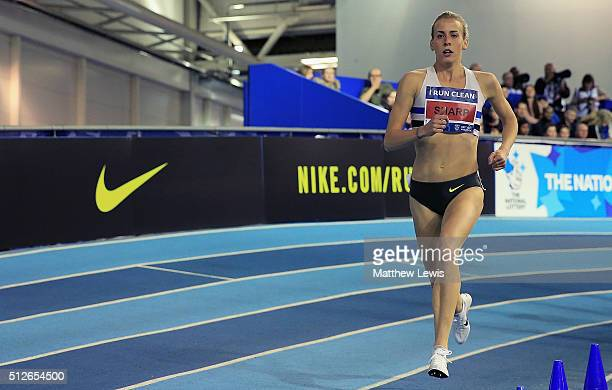 Lynsey Sharp in actino during the Womens 800m heats during day one of the Indoor British Championships at English Institute of Sport on February 27...