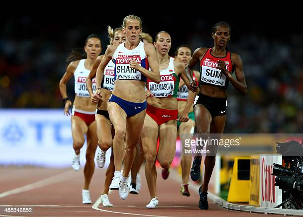 Lynsey Sharp of Great Britain and Eunice Jepkoech Sum of Kenya compete in the Women's 800 metres semifinal during day six of the 15th IAAF World...