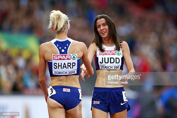 Lynsey Sharp of Great Britain and Northern Ireland and Jessica Judd of Great Britain and Northern Ireland shake hands after the Women's 800 metres...