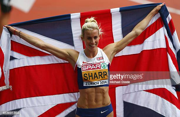 Lynsey Sharp of Great Britain and Northern Ireland celebrates as she wins silver in the Women's 800 metres final during day five of the 22nd European...