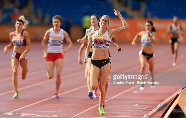 Lynsey Sharp of Great Britain celebrates winning the women's 800m during day three of the Sainsbury's British Championships at Alexander Stadium on...
