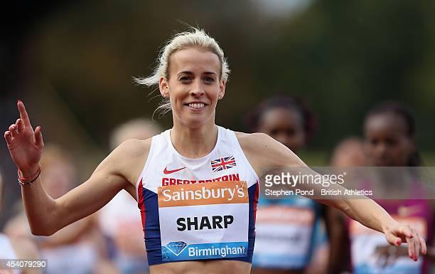 Lynsey Sharp of Great Britain celebrates winning the Women's 800m event during the Sainsbury's Birmingham Grand Prix Diamond League event at...