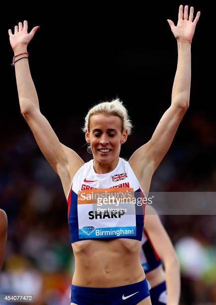 Lynsey Sharp of Great Britain celebrates winning the Women's 800m during the Diamond League at Alexander Stadium on August 24 2014 in Birmingham...