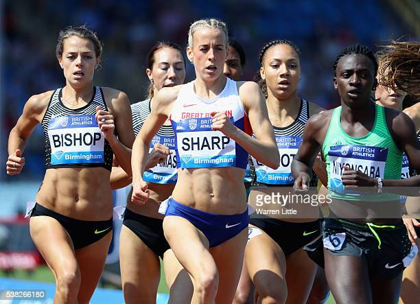 Lynsey Sharp of Great Britain competes in the the Women's 800m Final during the Birmingham Diamond League meet at Alexander Stadium on June 5 2016 in...