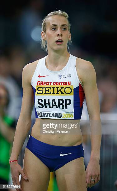 Lynsey Sharp of Great Britain competes in the Women's 800 Metres Heats during day three of the IAAF World Indoor Championships at Oregon Convention...