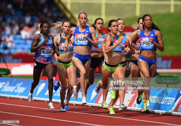 Lynsey Sharp of Great Britain competes in the Women's 800m during the Muller Grand Prix and IAAF Diamond League event at Alexander Stadium on August...
