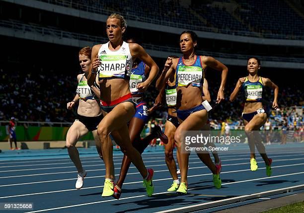 Lynsey Sharp of Great Britain leads the pack during the Women's 800m Round 1 on Day 12 of the Rio 2016 Olympic Games at the Olympic Stadium on August...