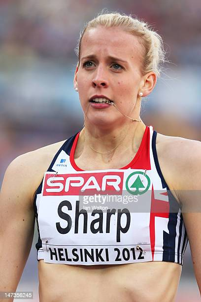 Lynsey Sharp of Great Britain looks on following the Women's 800 Metres Semi Finals during day two of the 21st European Athletics Championships at...