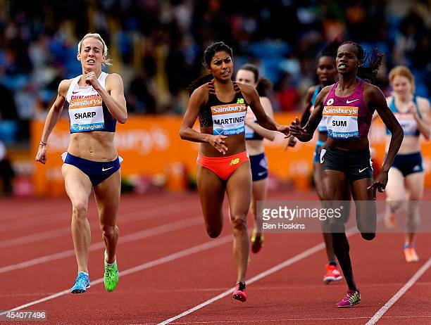 Lynsey Sharp of Great Britain races to victory in the Women's 800m during the Diamond League at Alexander Stadium on August 24 2014 in Birmingham...