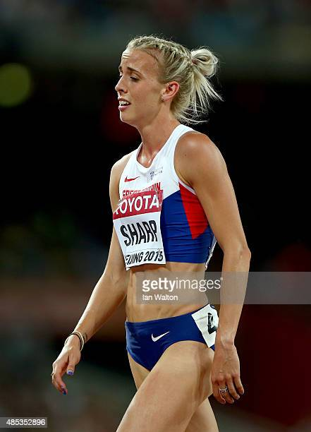 Lynsey Sharp of Great Britain reacts after competing in the Women's 800 metres semifinal during day six of the 15th IAAF World Athletics...