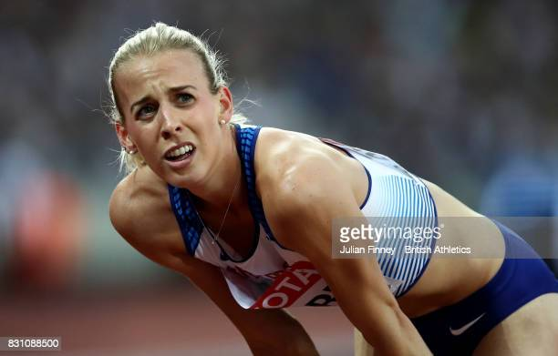 Lynsey Sharp of Great Britain recats after competing in the Womens 800 metres final during day ten of the 16th IAAF World Athletics Championships...