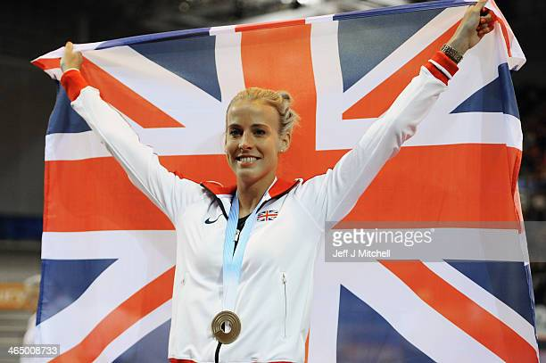 Lynsey Sharp of Scotland celebrates after being presented with her 2012 European Championships 800m gold medal during the British Athletics...