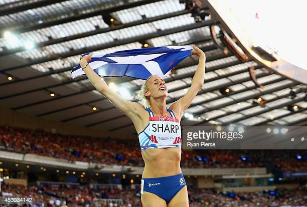 Lynsey Sharp of Scotland celebrates as she wins silver in the Women's 800 metres final at Hampden Park during day nine of the Glasgow 2014...