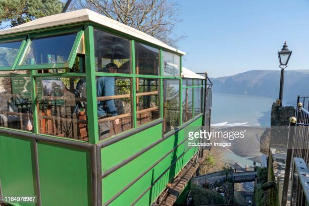 Lynton Devon England UK The Lynton Lynmouth cliff railway which operates on water power between the two towns of Lynton Lynmouth at the bottom