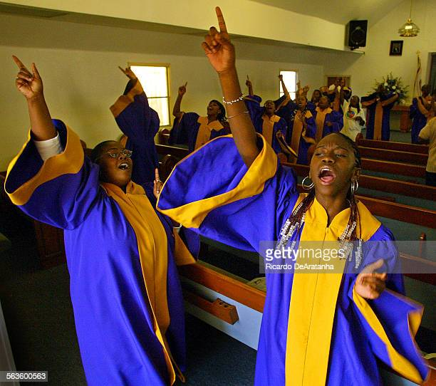 Lynwood High school choir at rehearsal at the Greater Bethel Apostolic Church This group of students rallied support about a year ago to reform this...