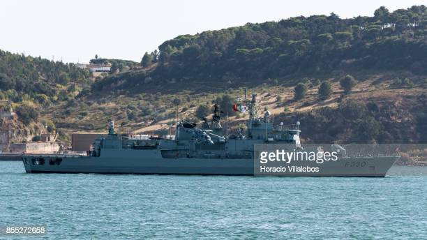 Lynx helicopter takes off from Portuguese Navy frigate NRP Vasco da Gama laying at anchor in Tagus River during the commemoration of the 100th...