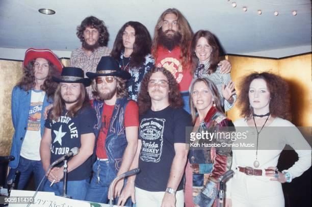 Lynyrd Skynyrd at press conference January 1977 Tokyo Japan Ronnie Van Zant Gary Rossington Steve Gaines Billy Powell Leon Wilkeson Artimus Pyle