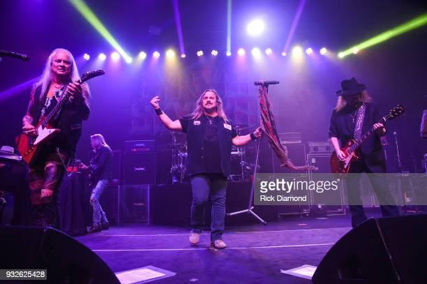 Lynyrd Skynyrd members Rickey Medlocke Johnny Van Zant and Gary Rossington perform at SiriusXM Presents Lynyrd Skynyrd Live at Buckhead Theatre in...