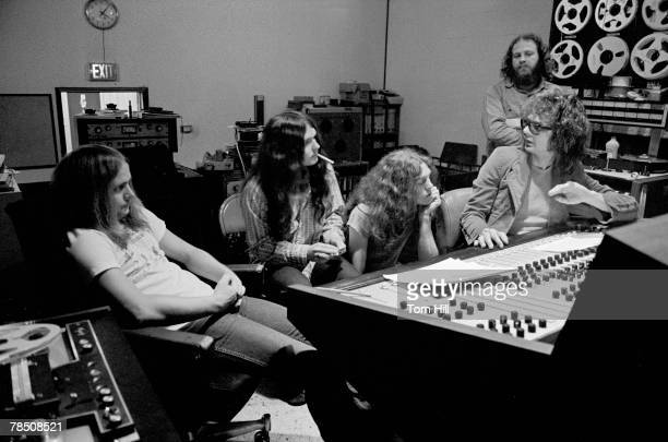 Ronnie Van Zant Gary Rossington and Allen Collins with Al Kooper at the controls during Lynyrd Skynyrd sessions for 'Pronounced Lynyrd Skynrd' at...