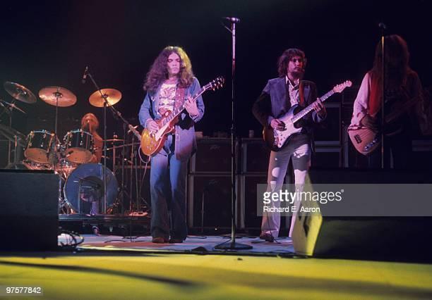 Lynyrd Skynyrd perform live on stage in New York in October 1976 LR Artimus Pyle Gary Rossington Steve Gaines Allen Collins