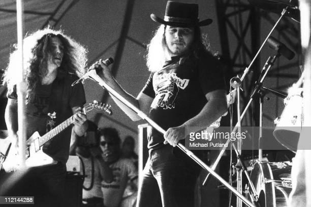 Lynyrd Skynyrd perform on stage at Knebworth 21sst August 1976 LR Allen Collins Ronnie Van Zant
