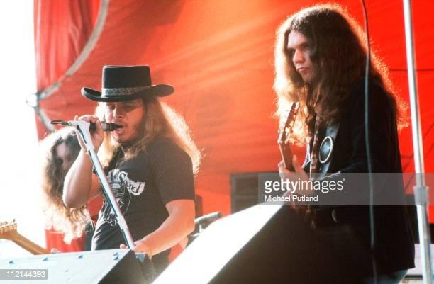 Lynyrd Skynyrd perform on stage at Knebworth 21sst August 1976 LR Ronnie Van Zant Gary Rossington
