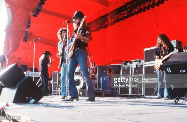 Lynyrd Skynyrd perform on stage at Knebworth 21sst August 1976