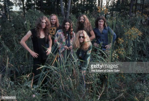 Lynyrd Skynyrd lr Allen Collins Ronnie Van Zant Billy Powell Gary Rossington Leon Wilkeson Artimus Pyle and Billy Powel poses for a portrait in...