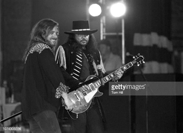 Lynyrd Skynyrd singer Johnny Van Zant and guitarist Gary Rossington perform in the concert celebrating the premiere of Lynyrd Skynyrd's FreebirdThe...