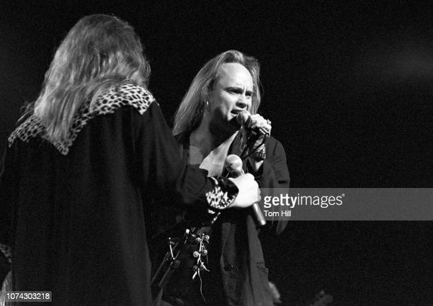 Lynyrd Skynyrd singer Johnny Van Zant and guitaristsinger Rickey Medlocke perform in the concert celebrating the premiere of Lynyrd Skynyrd's...