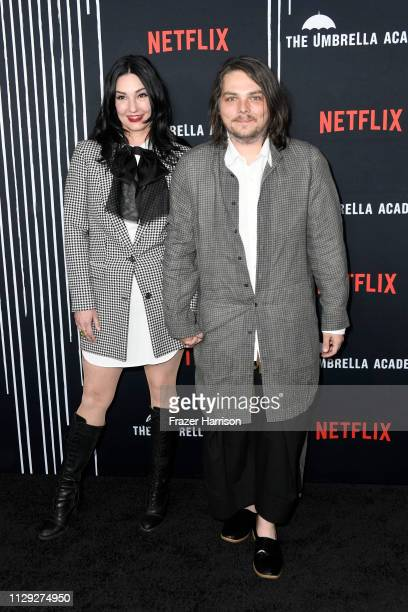 LynZ and Gerard Way attend the premiere of Netflix's The Umbrella Academy at ArcLight Hollywood on February 12 2019 in Hollywood California