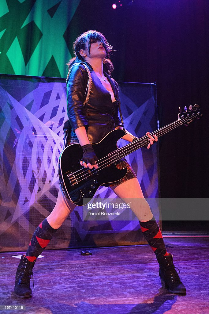 Lyn-Z of Mindless Self Indulgence performs on stage at House Of Blues Chicago on April 24, 2013 in Chicago, Illinois.