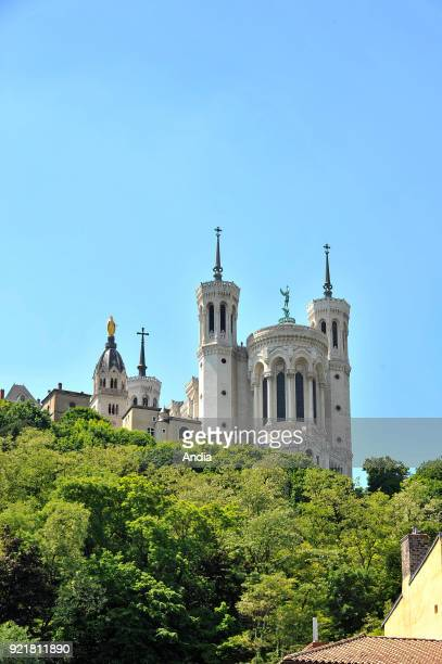 Lyon : Basilica of Notre-Dame de Fourviere, registered as a National Historic Landmark .