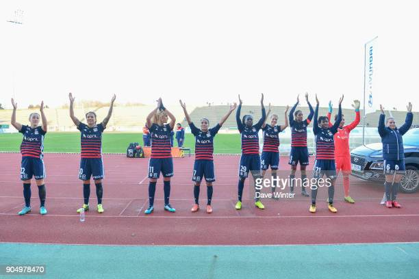Lyon celebrate winning the Division 1 match between Paris FC and Lyon on January 14 2018 in Evry Bondoufle France
