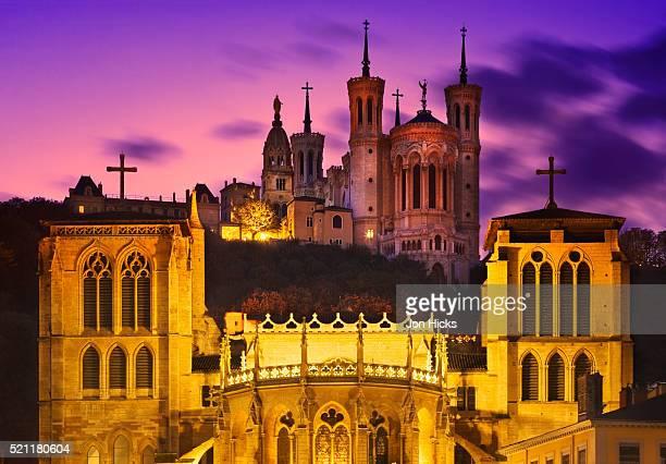 Lyon Churches at Sunset