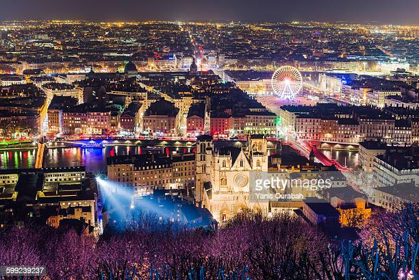 lyon city, france, panorama and lights in december - lyon photos et images de collection