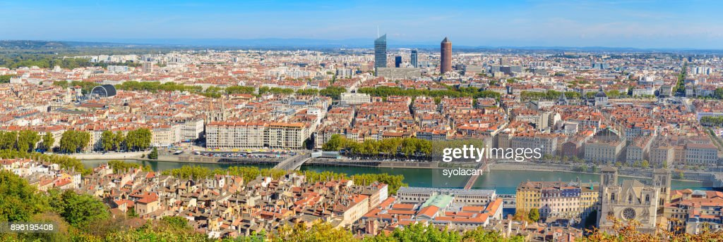 Lyon city panorama from above : Stock Photo