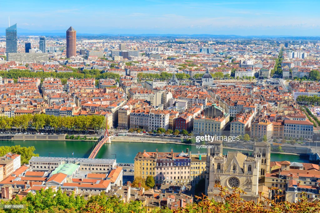 Lyon cityscape from above with Rhone River : Stock Photo
