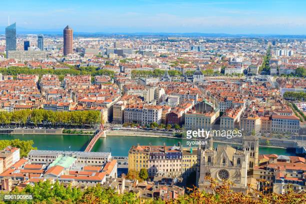 Lyon cityscape from above with Rhone River