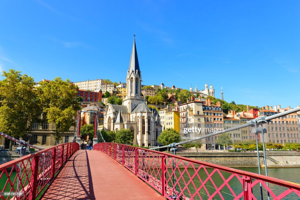 Lyon cityscape from Rhone River : Stock Photo