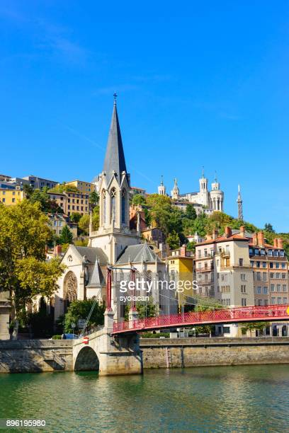 lyon cityscape from rhone river - rhone stock pictures, royalty-free photos & images