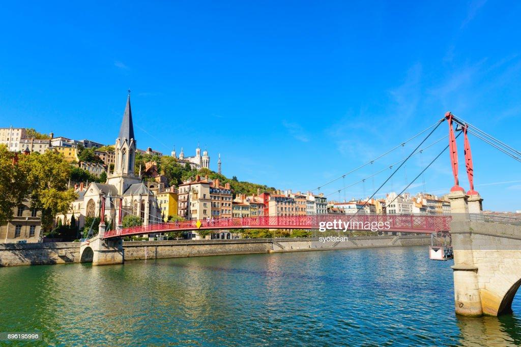 Lyon cityscape from Rhone River : Stock Photo