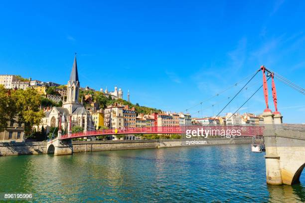 Lyon cityscape from Rhone River
