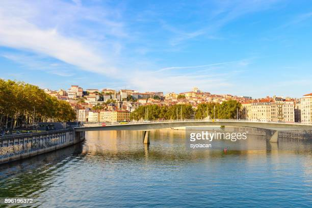 lyon cityscape with pont alphonse - syolacan stock pictures, royalty-free photos & images