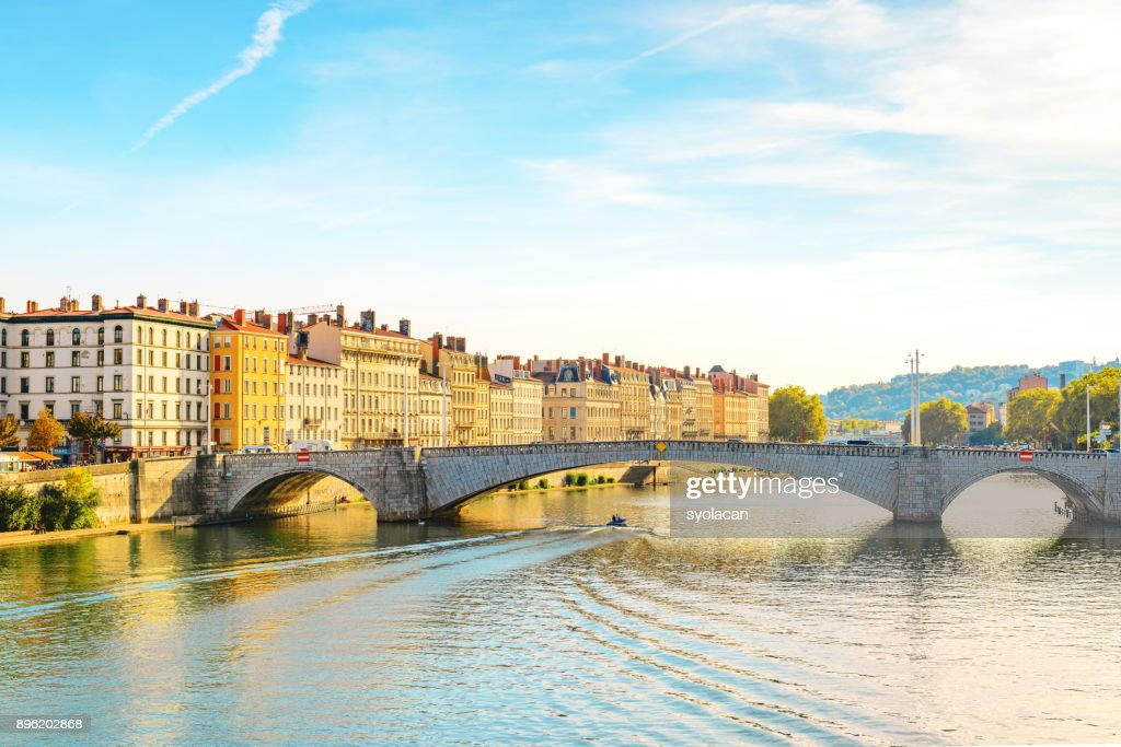 Lyon cityscape with Pont Bonaparte : Stock Photo